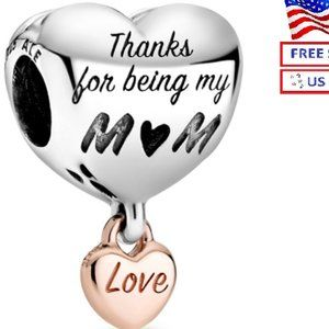 New Authentic PANDORA ALE Love You Mom Heart Charm